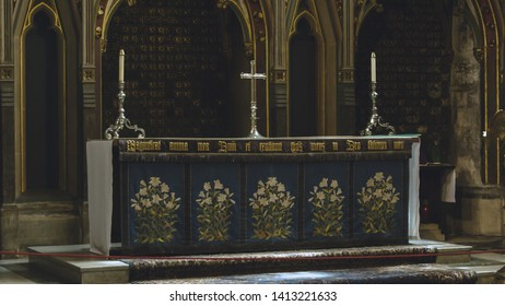 Bristol, England - Jun 1, 2019: Altar - Lady Chapel in Bristol Cathedral