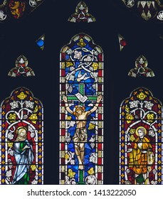 Bristol, England - Jun 1, 2019: Stained Glass - Lady Chapel in Bristol Cathedral