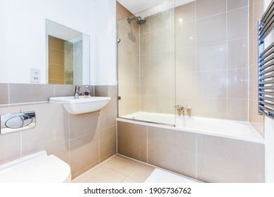 Bristol, England - June 20th 2014: A bright clean bathroom in a city centre apartment