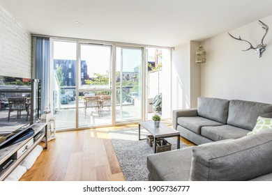 Bristol, England - June 20th 2014: Living room space in a city centre apartment