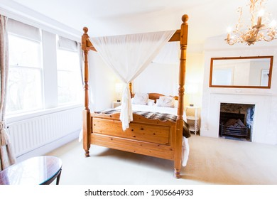 Bristol, England - March 11th 2013: A four poster bedroom in a country house