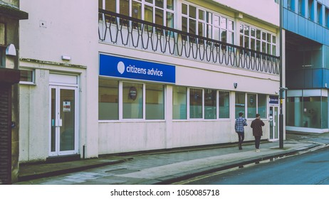 Bristol, England - March 16, 2018: Citizens Advice Bristol on Fairfax Street, shallow depth of field split toning horizontal photography