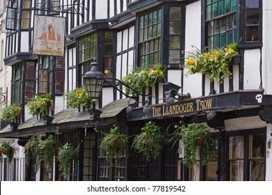 BRISTOL, ENGLAND - MAY 17: The seventeenth century Llandoger Trow inn Bristol, England on May 17, 2011. It is the Admiral Benbow in Treasure Island by Stevenson, whose popularity has recently soared