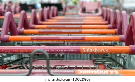 Bristol, England - May 28, 2018: Close up of Sainsbury's shopping trolley C, shallow depth of field
