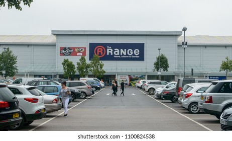 Bristol, England - May 28, 2018: The Range Store - view from car park, Bristol Imperial Park, modern architecture shallow depth of field