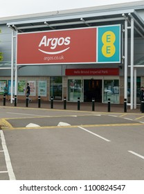 Bristol, England - May 28, 2018: Entrance to Argos and EE mobile network store, Bristol Imperial Park, modern architecture shallow depth of field