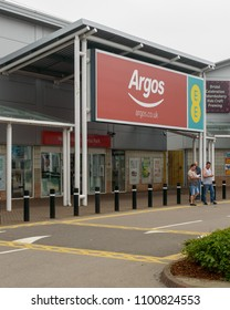Bristol, England - May 28, 2018: Entrance to Argos Store, Bristol Imperial Park, modern architecture shallow depth of field