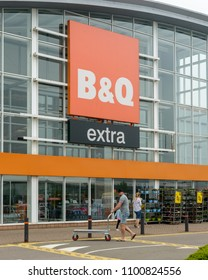 Bristol, England - May 28, 2018: Entrance to B&Q Extra Store, Bristol Imperial Park, modern architecture shallow depth of field