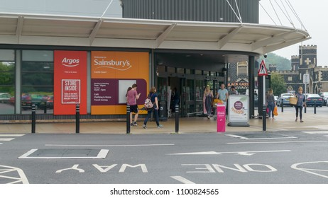 Bristol, England - May 28, 2018: Entrance to Argos and Sainsbury's Castle Court, shallow depth of field