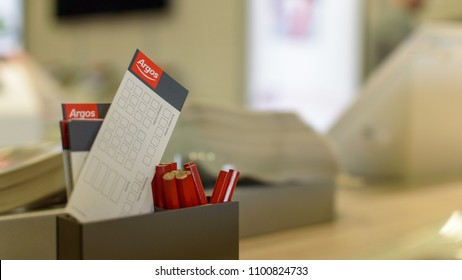 Bristol, England - May 28, 2018: Argos Pencil and Selection Slips B, shallow depth of field