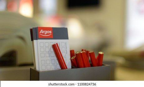 Bristol, England - May 28, 2018: Argos Pencil and Selection Slips A, shallow depth of field