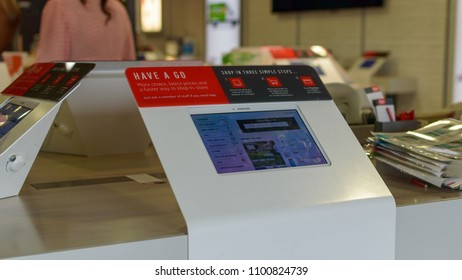 Bristol, England - May 28, 2018: Argos Touchscreen Electronic Catalog, Bristol Imperial Park, shallow depth of field
