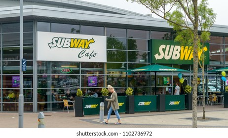 Bristol, England - May 28, 2018: Subway Cafe - part of Subway, Food Chain, Bristol Imperial Park, modern architecture shallow depth of field