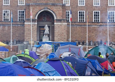BRISTOL, ENGLAND - NOVEMBER 18: The Occupy Bristol camp outside the Council House in Bristol, England on November 18, 2011. Part of an international campaign, it is the largest in UK outside London