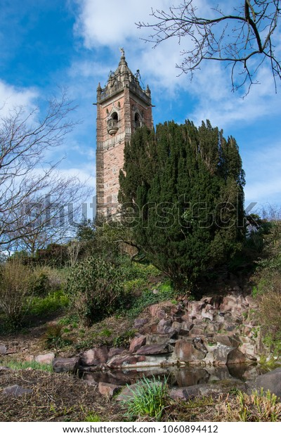Bristol, England / United Kingdom - April 3 2018: Brandon Hill, Cabot Tower the view at the tower on a sunny spring day.
