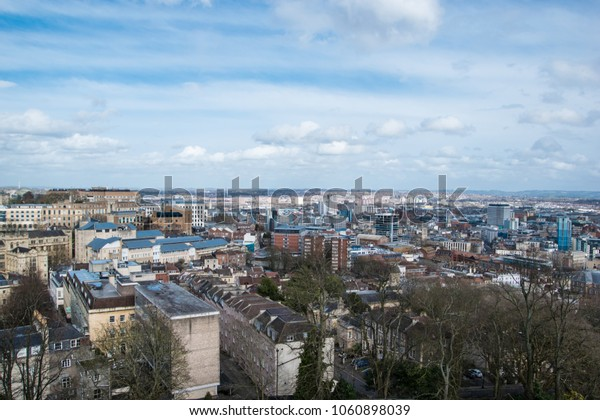 Bristol, England / United Kingdom - April 3 2018: Beautiful view and the city scape from Cabot Tower on Brandon Hill on a sunny spring day.