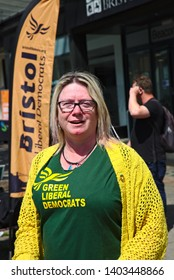 Bristol, England/United Kingdom - May 20 2019:Mary Page Liberal Democrats canvassing in Bristol