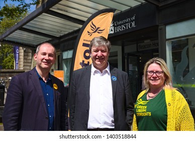 Bristol, England/United Kingdom - May 20 2019: Mary Page, Steven Williams, Alistair Carmichael MP Liberal Democrats canvassing in Bristol
