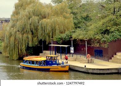 Bristol ferry boat, popular tourist attraction through the canals of Bristol. Bristol city centre, temple meads, Bristol. England. December 2018