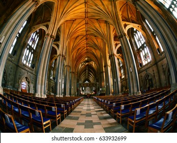 BRISTOL - May 2: Bristol Cathedral Wide Shot displaying Beautiful Stone Archways, Gothic Architecture & Marble Interior on May 2 2017 Bristol England.