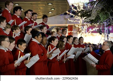 BRISTOL - NOV 7: Bristol Cathedral Choir perform in Cabot Circus shopping mall on Nov 7, 2014 in Bristol, UK. The choir performed traditional Christmas carols for visitors to the mall.