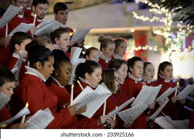 BRISTOL - NOV 7: Bristol Cathedral Choir peform in Cabot Circus shopping mall on Nov 7, 2014 in Bristol, UK. The choir peformed traditional Christmas carols for visitors to the mall.