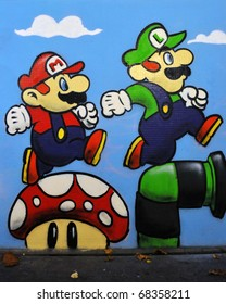 BRISTOL - NOV 8: Graffiti piece of Nintendo's Mario and Luigi by an unidentified artist on a wall in the city centre on November 8, 2010 in Bristol, UK. Bristol is famous for its vibrant street art.