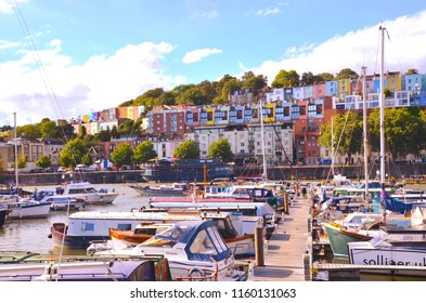 Bristol popular marina with Clifton a wealthy suburb in the background. Bristol harbour, Bristol city centre. England UK. august 2018