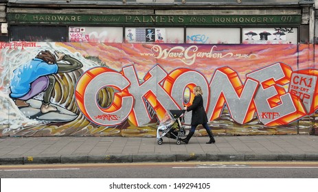 BRISTOL - SEPT 21: Graffiti piece by an unidentified artist on a building in the Stokes Croft area of the city on Sept 21, 2012 in Bristol, UK. Bristol is famed for its vibrant street art scene.