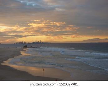 Bristol skyline during sunset on the beach, Gold Coast, Australia