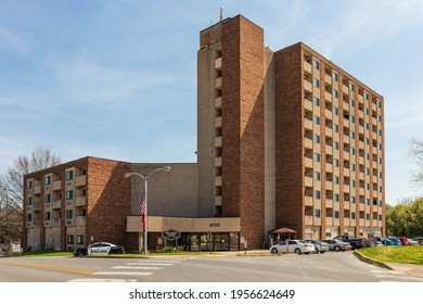 BRISTOL, TN-VA, USA-7 APRIL 2021: Fort Shelby Towers, a public, low-iincome, independent senior housing facility.