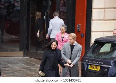 Bristol, UK - 02/01/19: Prince Harry and Megan visit Bristol Old Vic Theatre