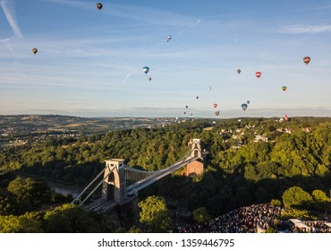 Bristol, UK - 11 August 2018: The always popular Bristol Balloon Fiesta. Early morning flight from Clifton Observatory with views of Clifton Suspension Bridge