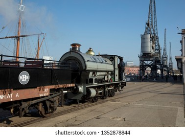 Bristol, UK, 23rd February 2019, Portbury steam loco of the Bristol Harbour Railway on the Wapping Wharf at M Shed museum