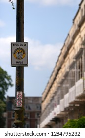 Bristol, UK - 5th July 2013: A Neighbourhood Watch sign on a lamp post in the Clifton area of Bristol, UK