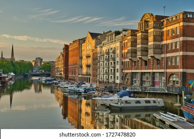 Bristol, UK - 8th May, 2020: Quayside during the golden hour.