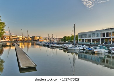 Bristol, UK - 8th May, 2020: Bristol waterfront deserted through the later stages of lockdown
