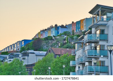Bristol, UK - 8th May, 2020: Bristol's famour coloured homes alongside the harbour