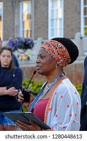 BRISTOL, UK - AUGUST 15, 2017: The Deputy Mayor of Bristol, Asher Craig, at a vigil to mark the death of Heather Heyer, who was killed at an anti-fascist demonstration in Charlottesville, Virginia.