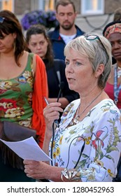 BRISTOL, UK - AUGUST 15, 2017: Karin Smyth, MP for Bristol South, at a vigil to mark the death of Heather Heyer, who was killed at an anti-fascist demonstration in Charlottesville, Virginia.