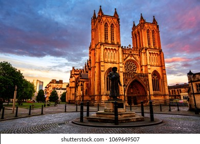 Bristol, UK. Cathedral in Bristol, UK in the evening. Sunset with colorful cloudy sky