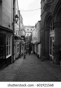 BRISTOL, UK - CIRCA SEPTEMBER 2016: Christmas Steps historic street in the city centre in black and white