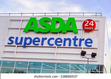 Bristol, UK: December 14, 2016: Asda Super Centre supermarket. Asda Stores Limited is an American-owned, British-founded supermarket retailer, headquartered in Leeds, West Yorkshire.