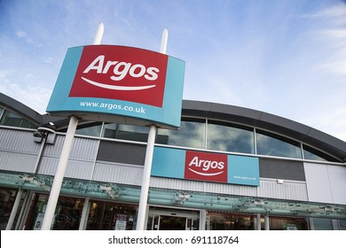 Bristol, UK: December 2016: Argos store front with the website on the commercial sign. Argos is a British catalogue and shop retailer operating in the United Kingdom and a subsidiary of Sainsbury's.
