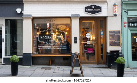 Bristol, UK - February 12 2020: Daniel Rymer male grooming specialists shop front and signage on St Stephens Street