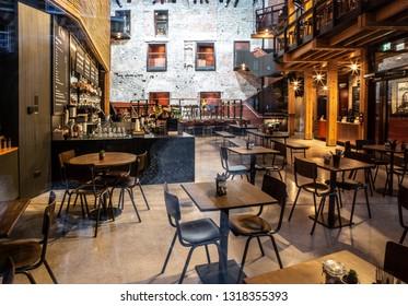 BRISTOL, UK - FEBRUARY 16, 2019: The Bristol Old Vic Theatre 1766 Bar & Kitchen, King Street Bristol