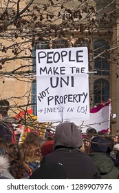 BRISTOL, UK - FEBRUARY 22, 2018: Striking university staff picket outside the University of Bristol's Wills Memorial Building.