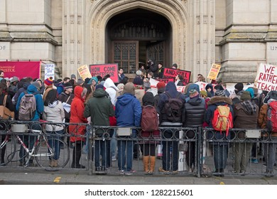 BRISTOL, UK - FEBRUARY 26, 2018: Striking university staff picket outside the University of Bristol's Wills Memorial Building while the university's senate meets inside.