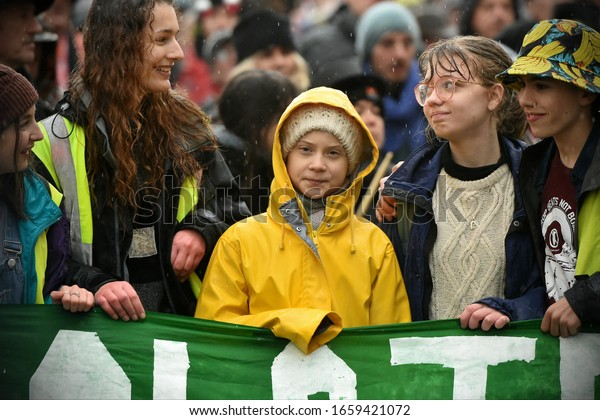 Bristol, UK - February 28, 2020: Environment activist Greta Thunberg joins demonstrators during a Bristol Youth Strike 4 Climate (BYS4C) rally through the city centre.