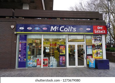 Bristol, UK - January 3, 2018: View of a McColl's store on a city centre street. McColl's Retail Group is a British convenience store and newsagent outlet, operating 1,650 stores throughout the UK.